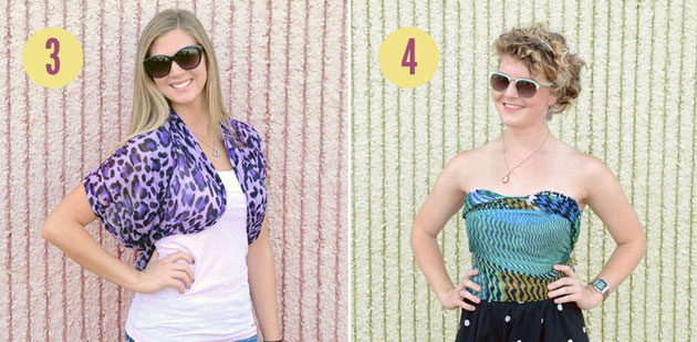 No-sew scarf shirts: Scarf Bolero and Scarf Bustier Top