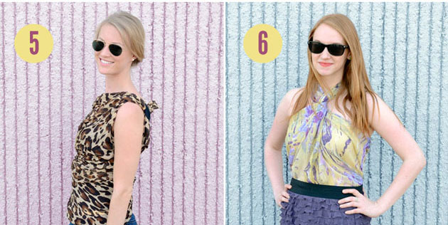 No-sew scarf shirts: One-shoulder wrap and Scarf Halter Top