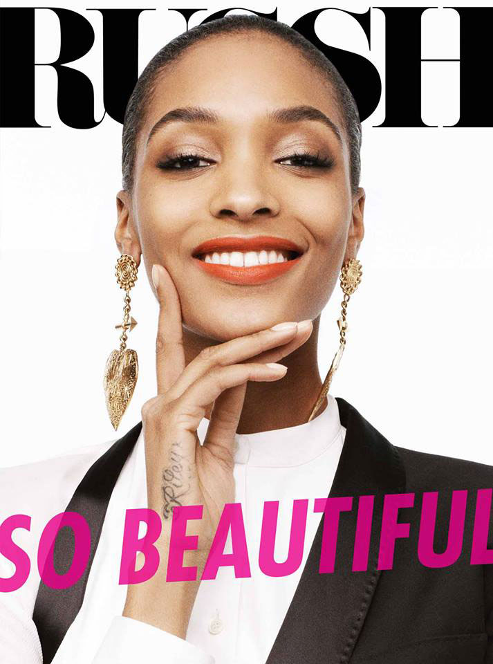 Jourdan Dunn on the June/July 2013 cover of Russh. Photographed by Benny Horne. Image via Russh Magazine.