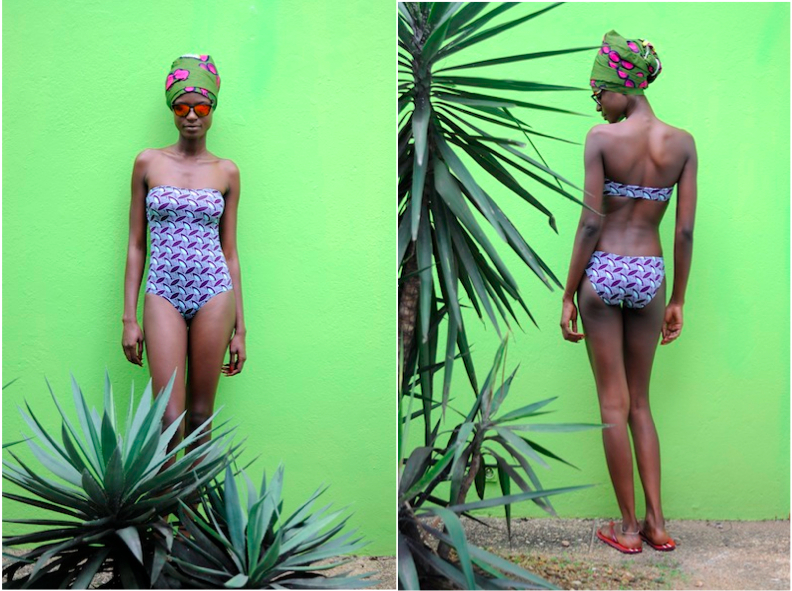 Model posing in a one piece strapless swimsuit by bantu
