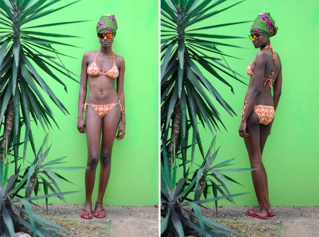 a yellow and orange triangle bikini by Bantu