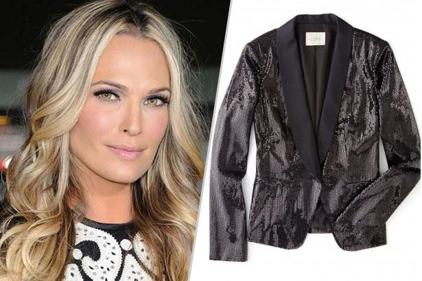 image: LOFT; Anne Taylor Sequin Tuxedo Jacket $128