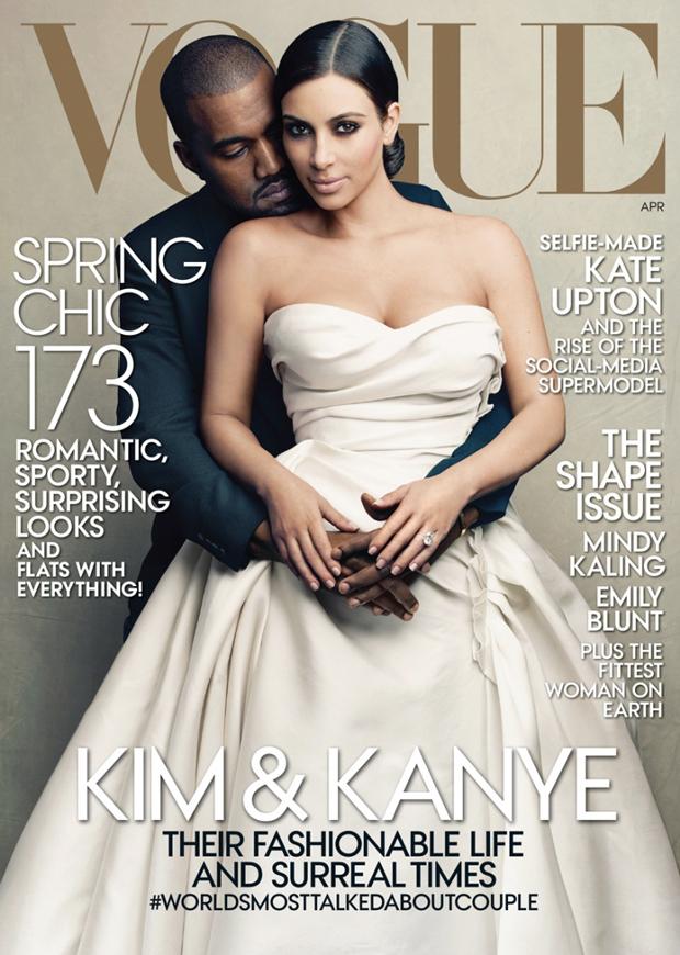 Kim Kardashian and Kanye's West April 2014 VOGUE cover