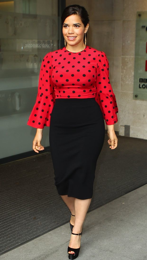 America Ferrera promotes How to Train Your Dragon 2 in a red Dolce & Gabbana polka dot blouse