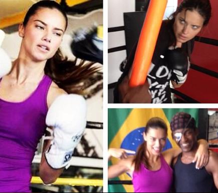 Adriana Lima boxing in Michael Olajide's gym