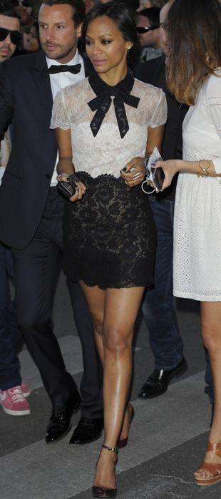 Zoe Saldana makes the rounds at Cannes in Valentino