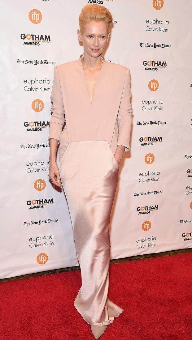 Tilda Swinton wears a neutral gown to Gotham Awards