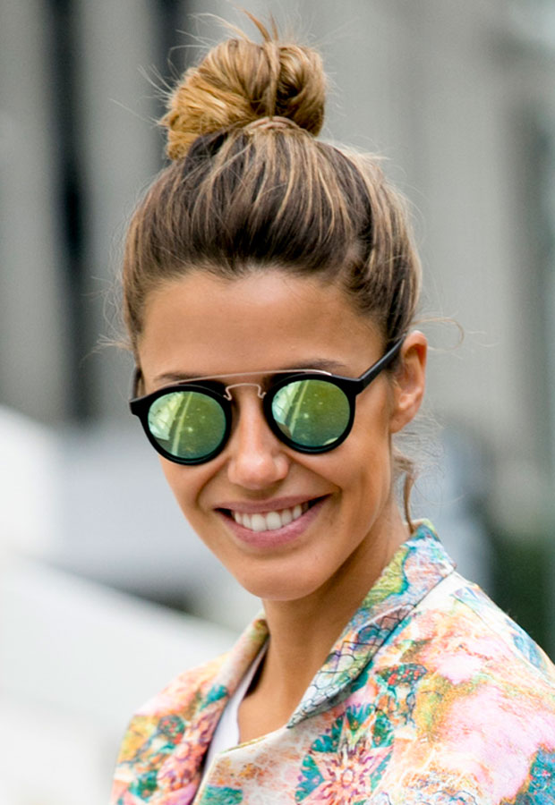 Top knot bun hairstyle