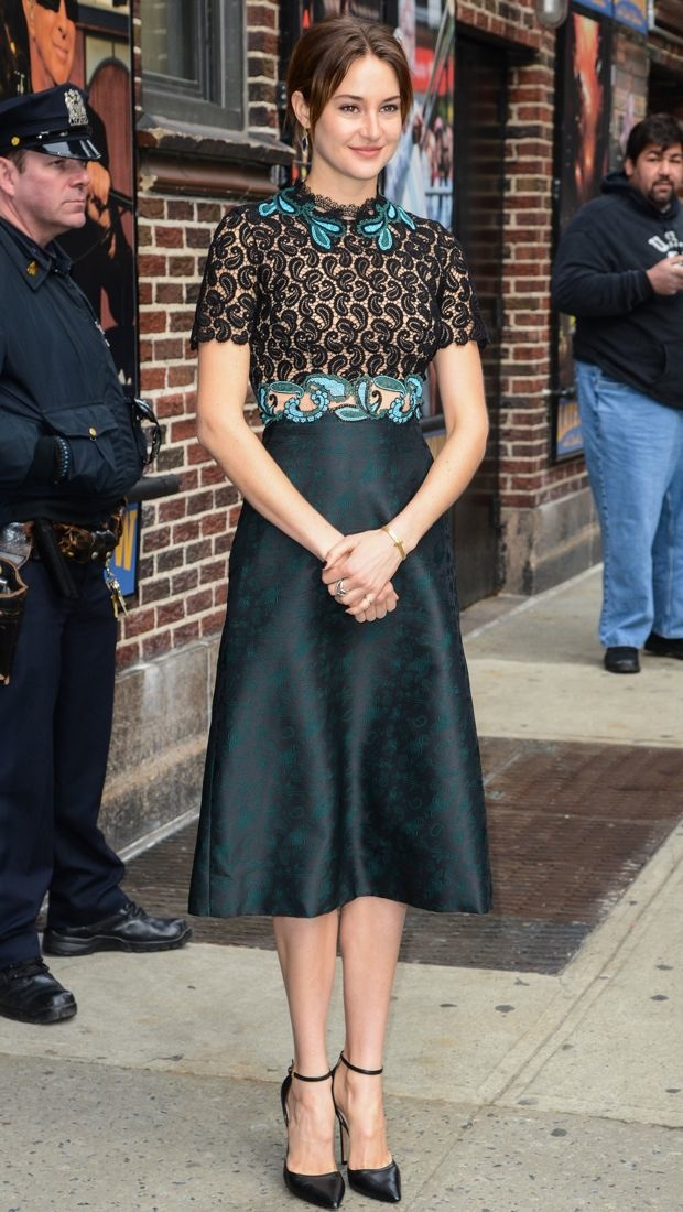 Shailene Woodley wears a complex Mary Katrantzou dress to visit David Letterman