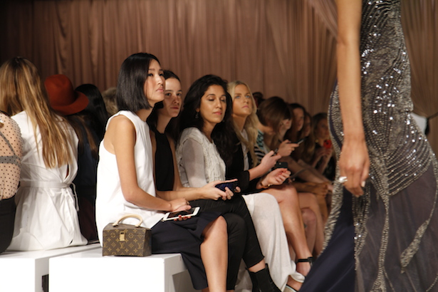 Nicole Warne sits front row at Steven Khalil