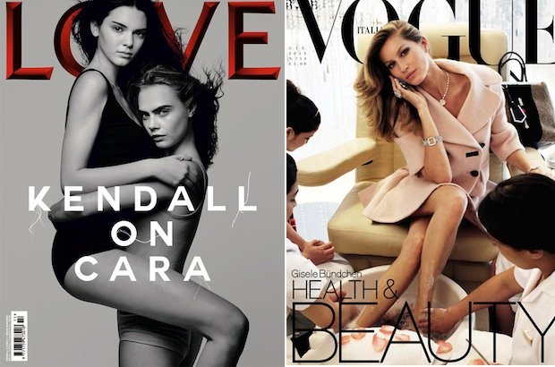 Kendall Jenner and Cara Delevingne via Love magazine; Gisele Bündchenvia Vogue Italia via their modeling agencies in NYC
