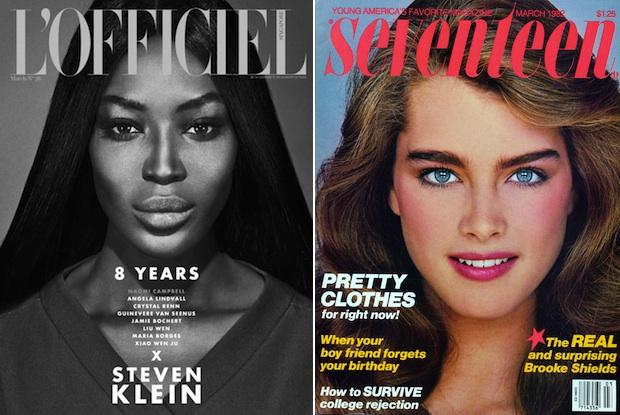 Naomi Campbell via L'Officiel; Brooke Shields via Seventeen