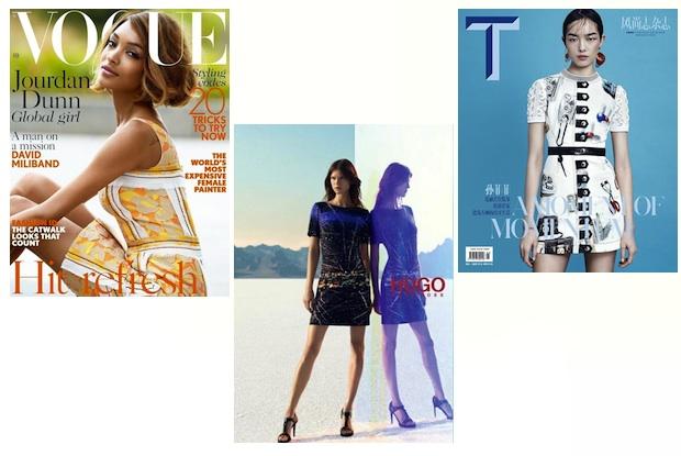 Jourdan Dunn via British Vogue; Kasia Struss via Hugo Boss; Fei Fei Sun via T courtesy of their modeling agencies
