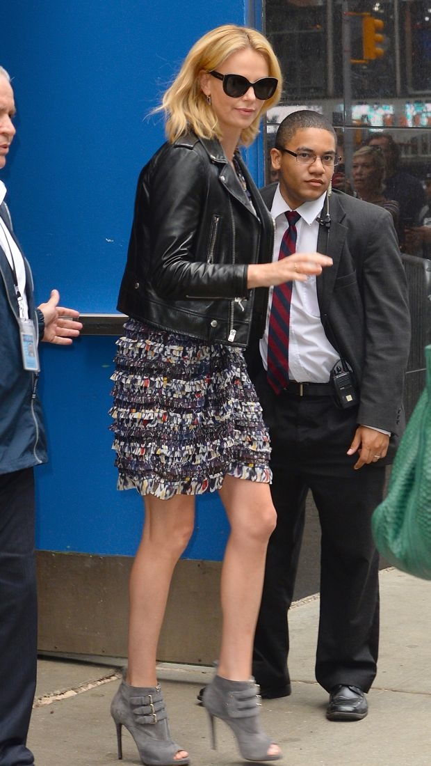 Charlize Theron wears a textured Isabel Marant dress to