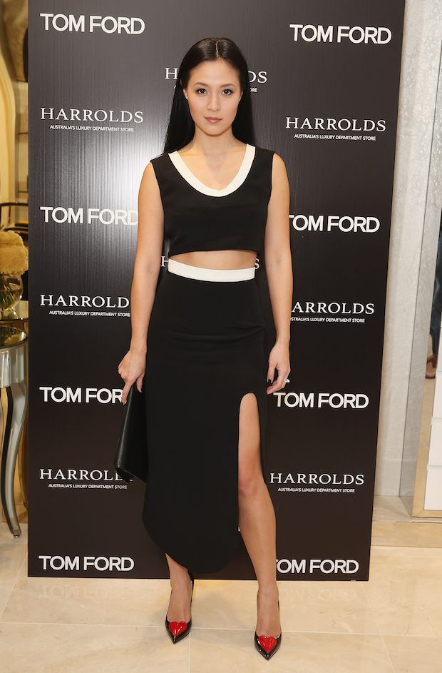 race Huang arrives at the launch event for Harrolds' Tom Ford Shop-In-Shop at Westfield Sydney