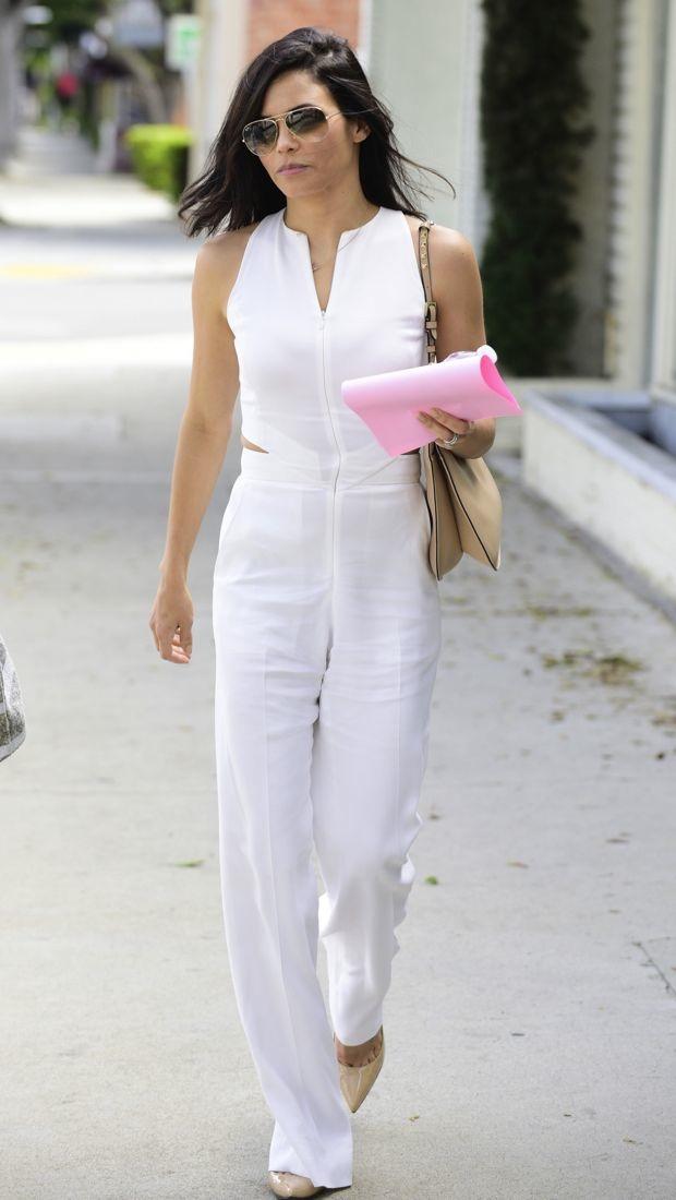 Jenna Dewan Tatum wears a crisp white A.L.C. jumpsuit
