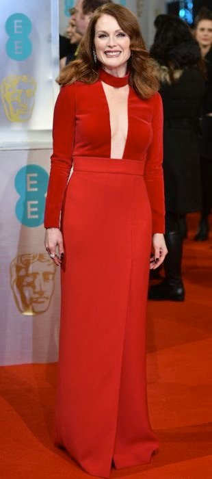 Julianne Moore in a red Tom Ford gown at BAFTA Awards