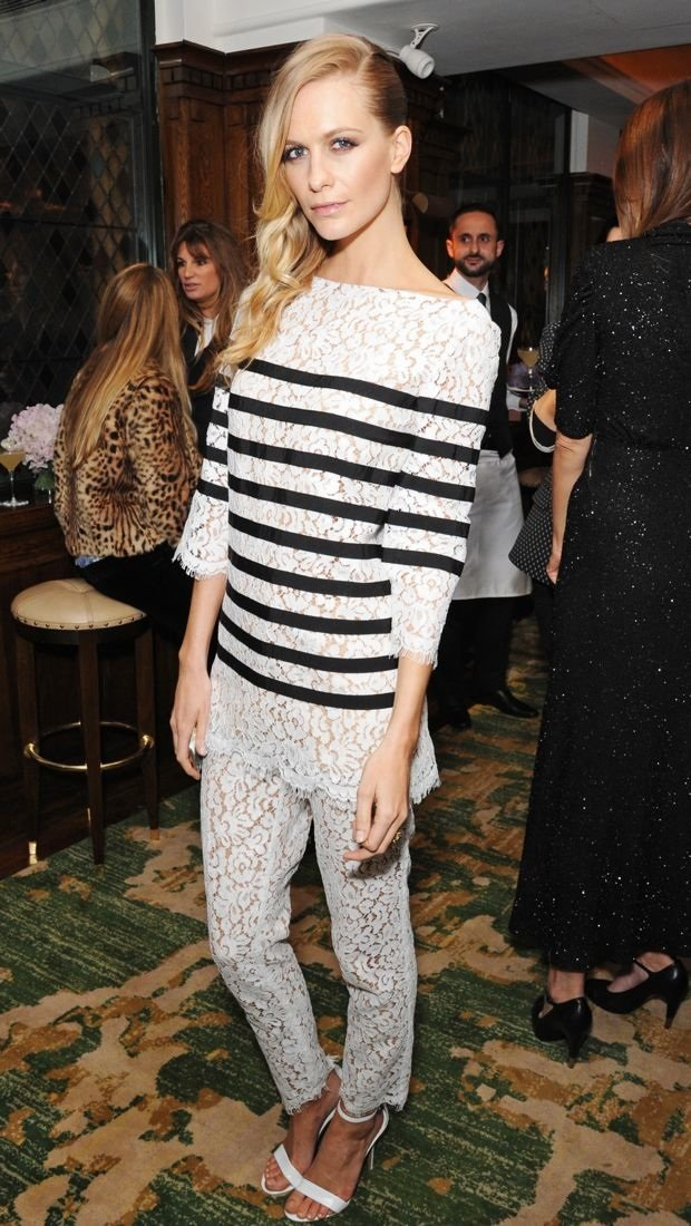 Poppy Delevingne shows her stripes in a lacy Michael Kors ensemble