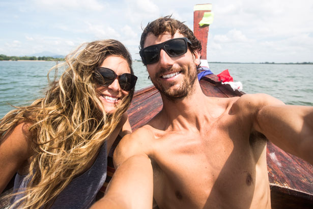 attractive couple on a boat