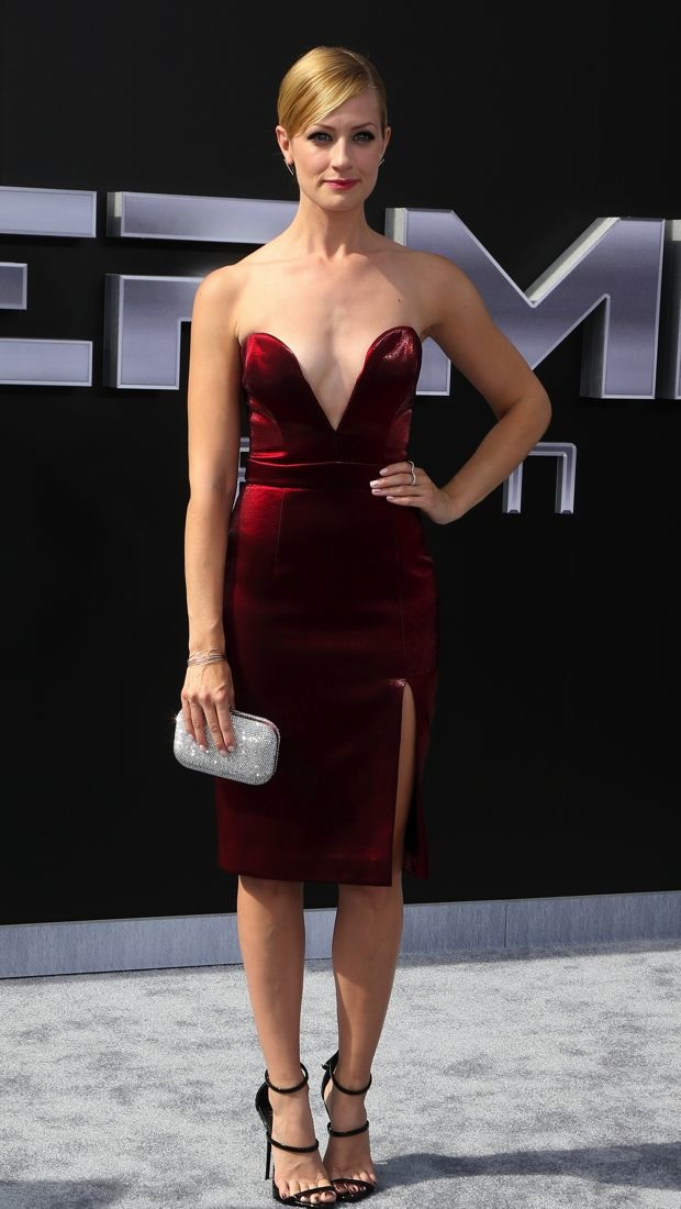 Beth Behrs wears a little red dress to the Terminator Genisys Los Angeles premiere