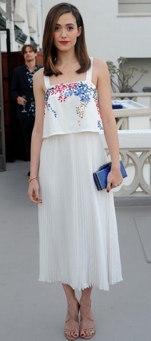 Emmy Rossum in Elle Sasson at Glamour dinner