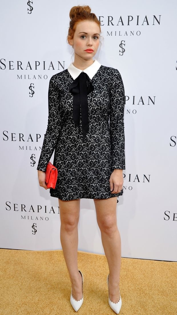 Holland Roden wears a lacy Erin Fetherston dress to the Serapian Milano U.S. opening