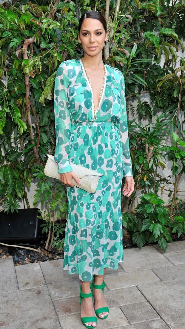 Moran Atias wears a patterned Max Mara dress to the 2015 Women In Film Max Mara Face of the Future event