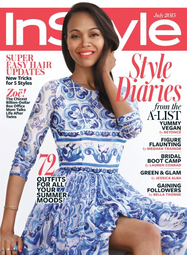 US InStyle July 2015 Zoe Salanda by Paul Marfi
