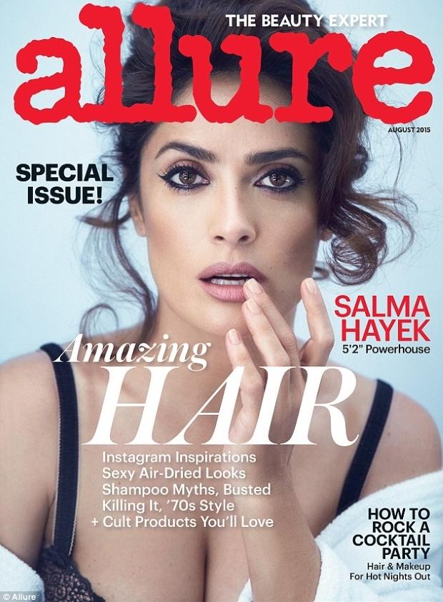 US Allure August 2015 Salma Hayek by Patrick Demarchelier