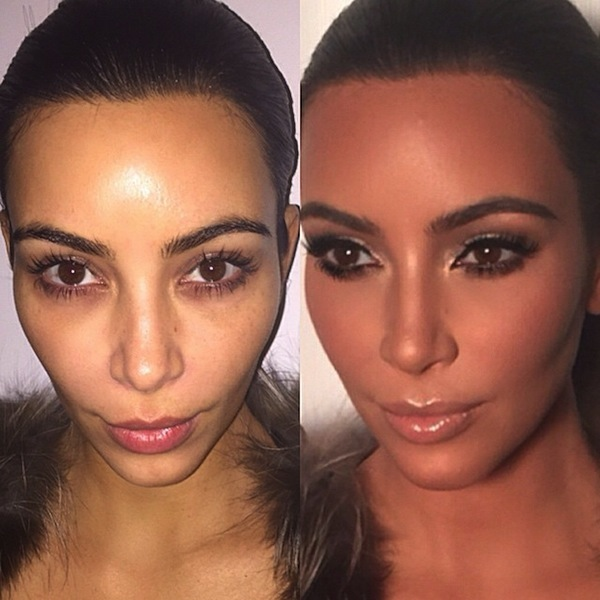 Kim Kardashian makeup before and after