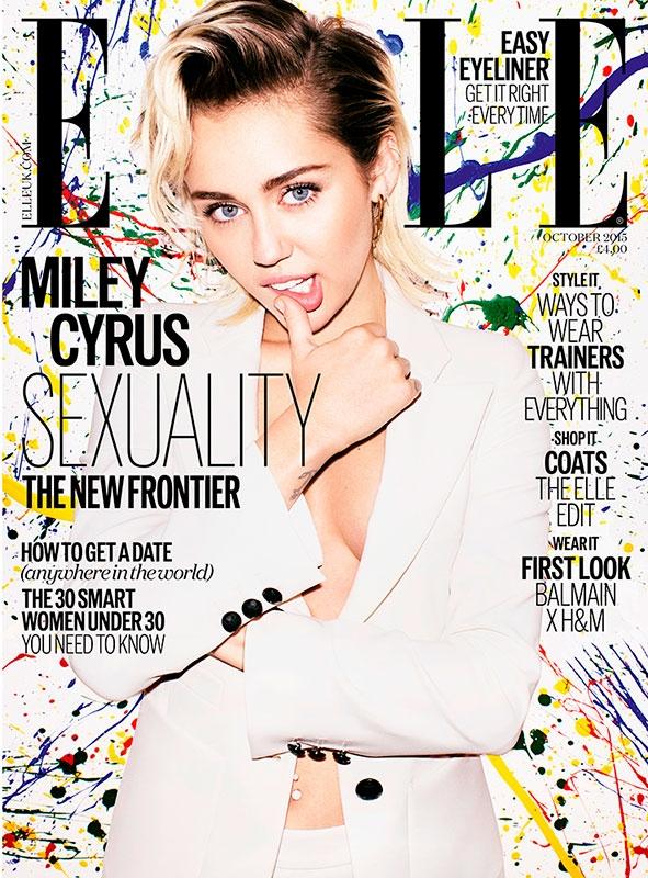 UK Elle October 2015 Miley Cyrus by Matt Irwin