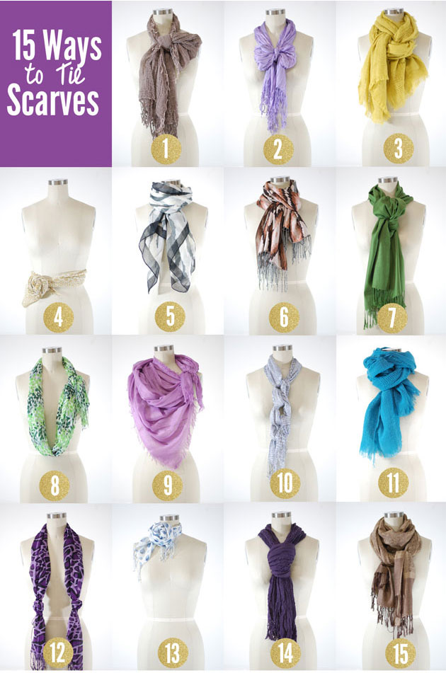 how to tie a scarf 15 ways; detailed scarf tying tips