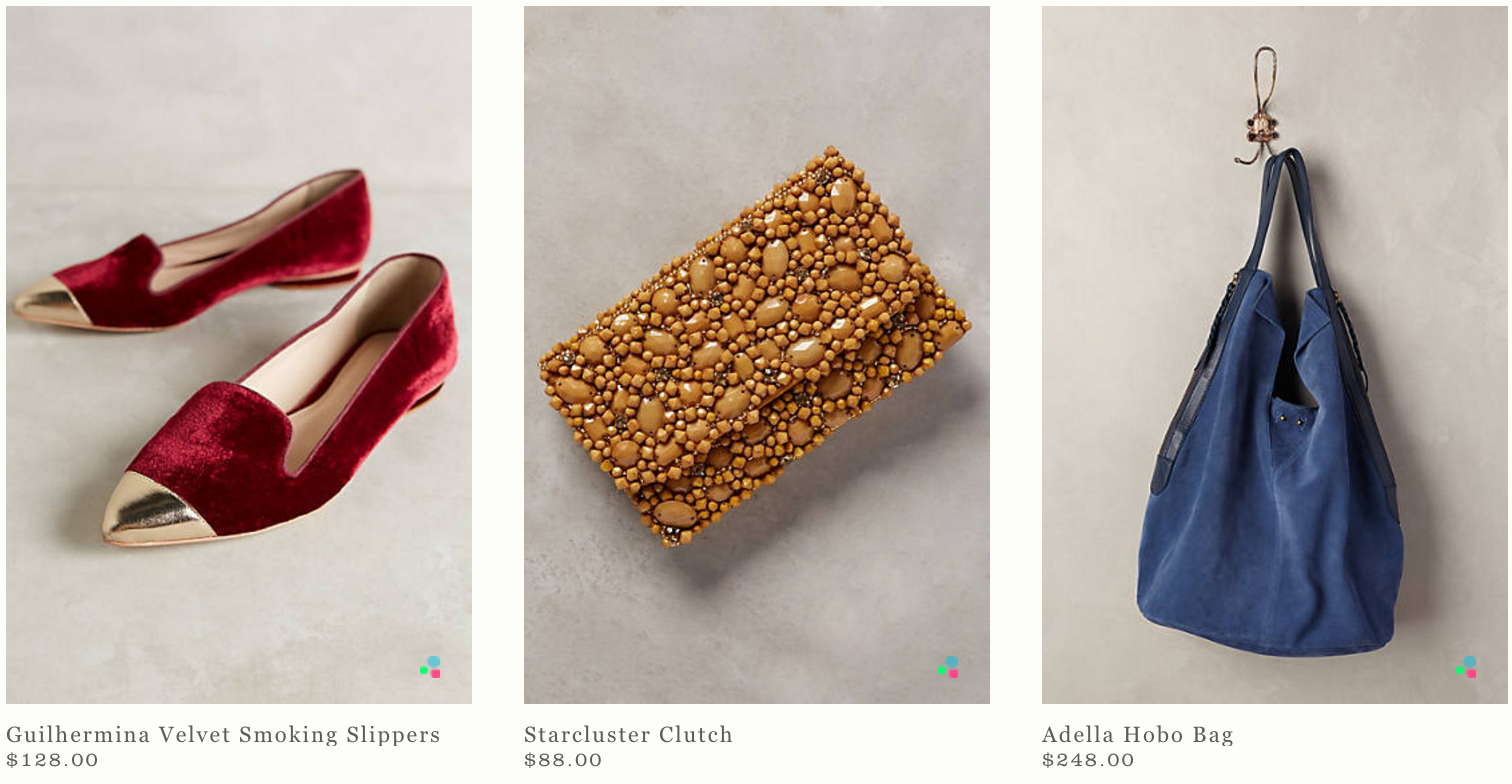 Some of the items from the New Arrivals section of Anthropologie