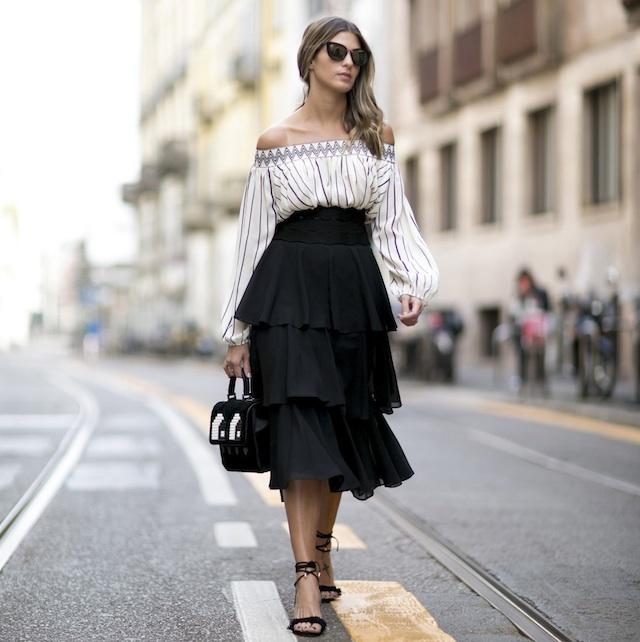 off-the-shoulder-white-blouse-black-skirt-street-style