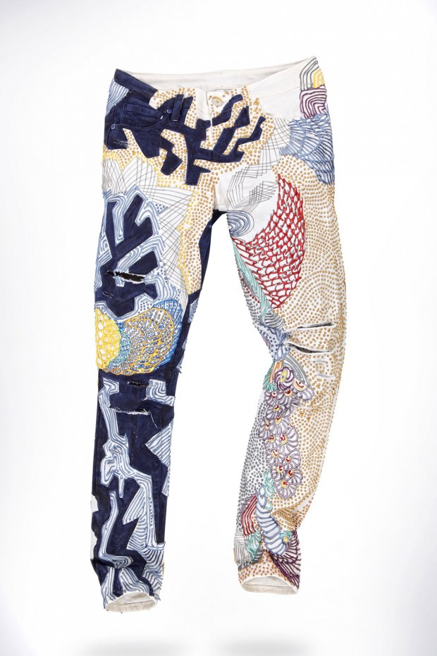 Alicia Vikander's customized jeans by Johny Dar.
