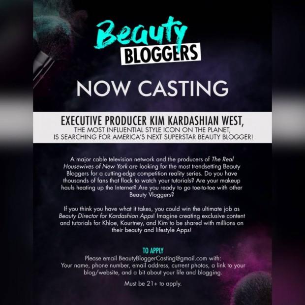 Casting call for an upcoming Kim Kardashian-produced reality series.