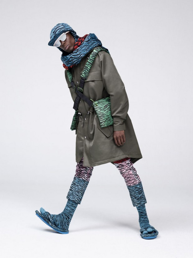 Performance artist Oko Ebombo features in the Kenzo x H&M lookbook.