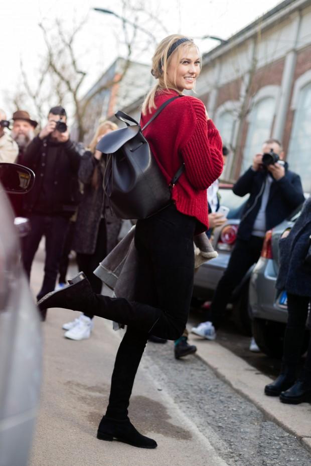 Karlie Kloss sports a black Mansur Gavriel backpack in Milan.