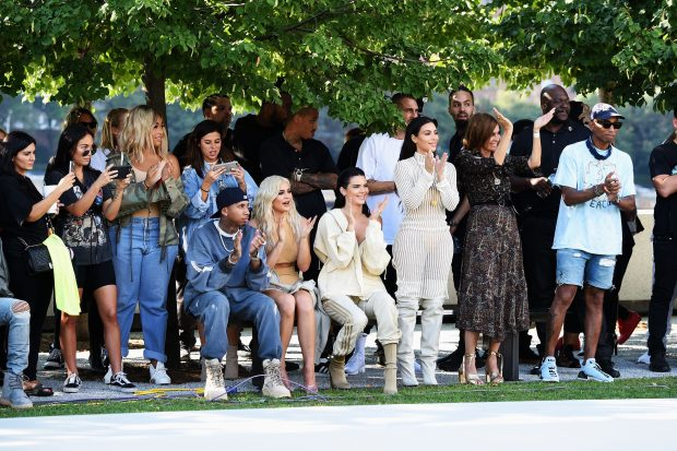 Tyga, Kylie Jenner, Kendall Jenner, Kim Kardashian, Carine Roitfeld and Pharrell Williams attend the Kanye West Yeezy Season 4 fashion show on September 7, 2016 in New York City.