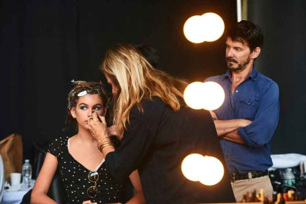 Kaia Gerber gets prepped for the spring 2017 Marc Jacobs Beauty campaign.