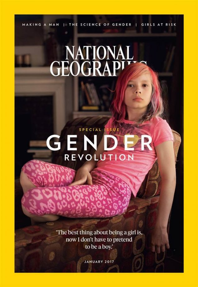 """Transgender activist Avery Jackson covers National Geographic's January 2017 """"Gender Revolution"""" issue."""