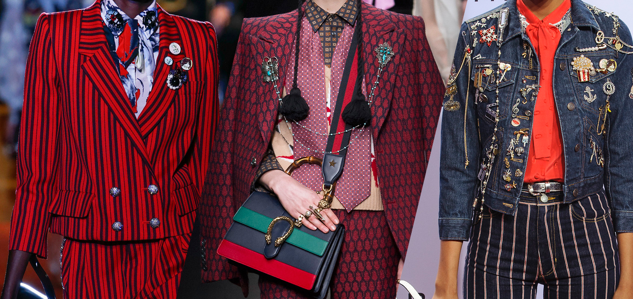pins and patches on the runway at Gucci and Marc Jacobs