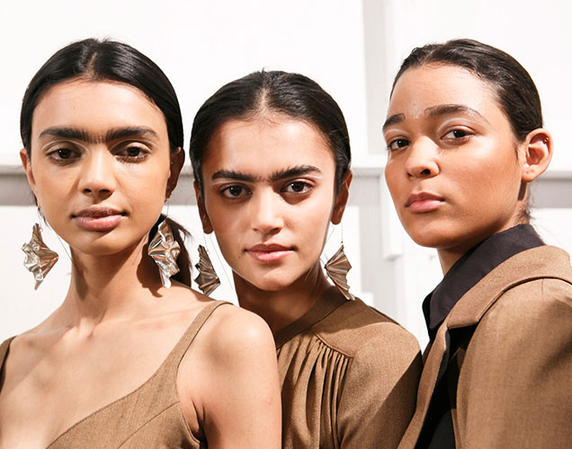 Models of color backstage at Tome Fall 2017.