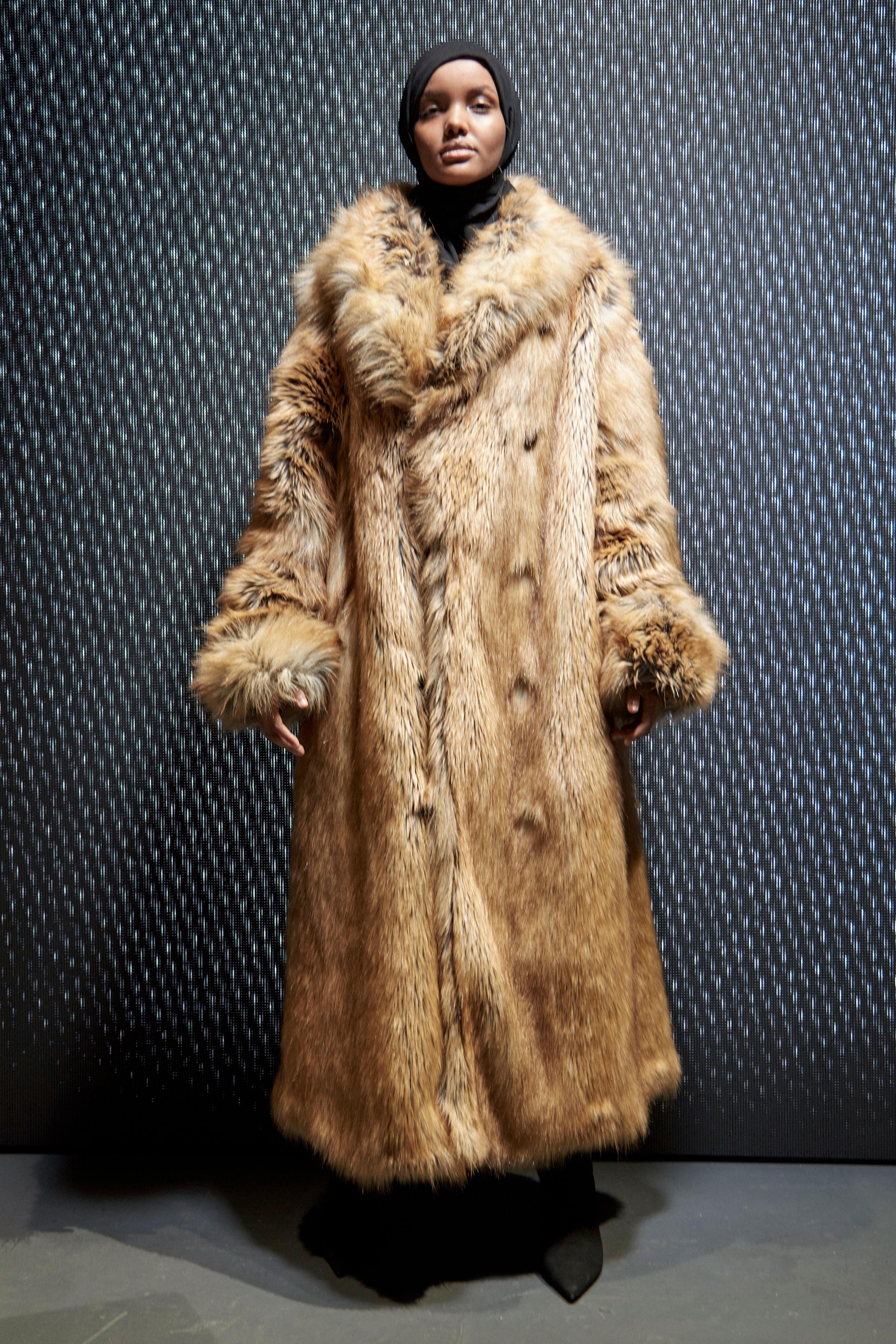 Halima Aden models Yeezy Season 5.