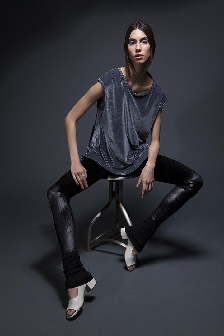 woman wearing velvet fitness apparel