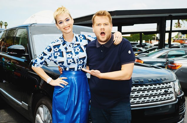 """Katy Perry and """"The Late Late Show"""" host James Corden sing Carpool Karaoke."""