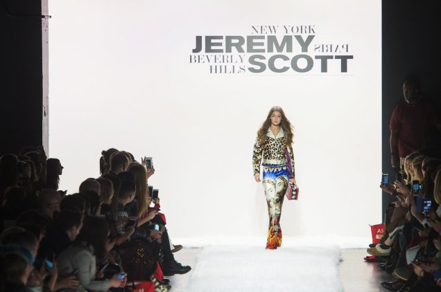 Gigi Hadid opens Jeremy Scott's Fall 2017 runway show at the Skylight Clarkson Square.