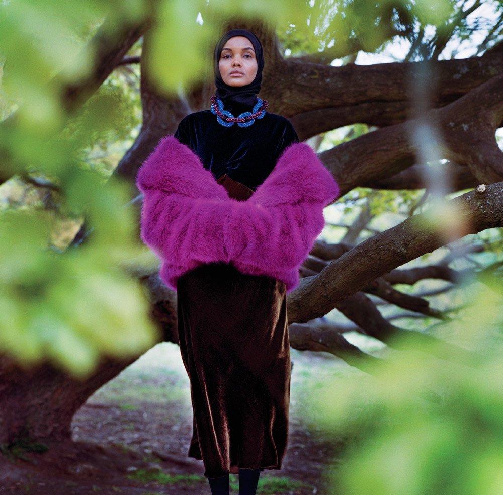 Halima Aden in Dries Van Noten; Image: Anton Corbjin for Vogue