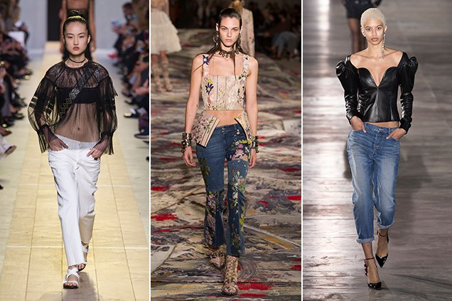 Going-out tops and jeans are back as seen at Christian Dior Spring 2017, Alexander McQueen Spring 2017, Saint Laurent Spring 201