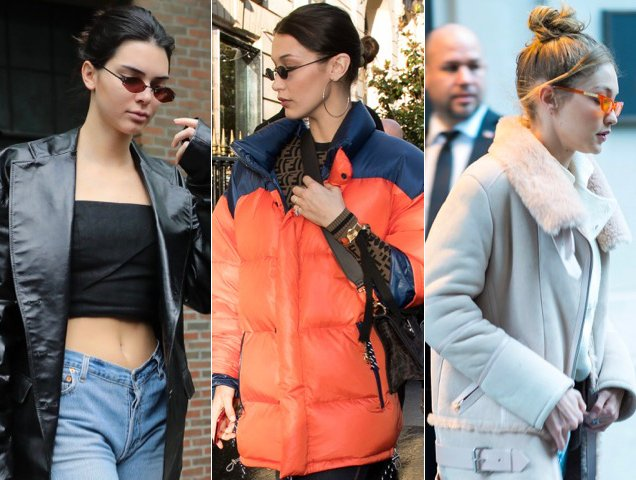Kendall Jenner and Bella and Gigi Hadid wear small sunglasses